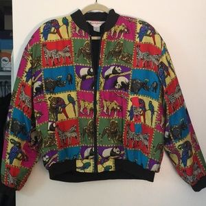 Jackets & Blazers - Silk Animal Print Bomber- costume/vintage